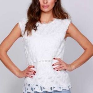 Tops - White cotton/lace top
